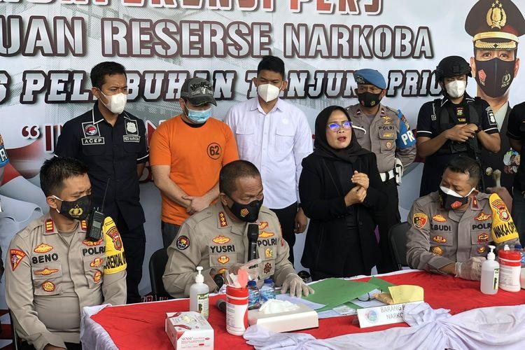 Rilis narkoba artis dangdut Ridho Rhoma di Polres Pelabuhan Tanjung Priok, Jakarta Utara, Senin (8/2/2021).