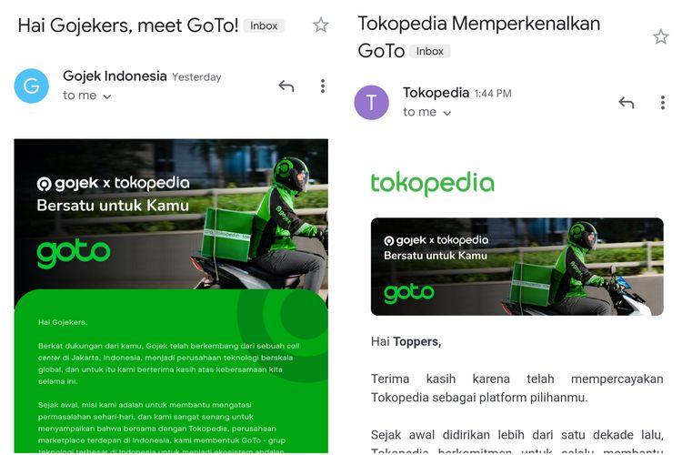 llustrasi e-mail blast yang dikirimkan Gojek dan Tokopedia ke pengguna.