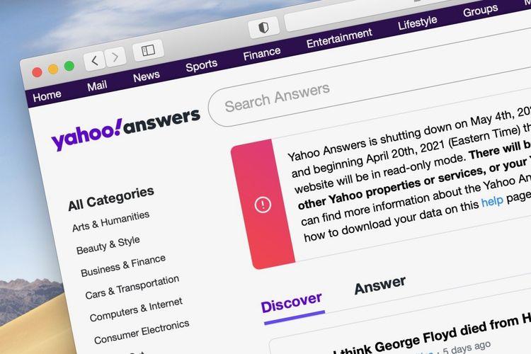 Ilustrasi laman Yahoo Answer yang menginformasikan penutupan layanan.