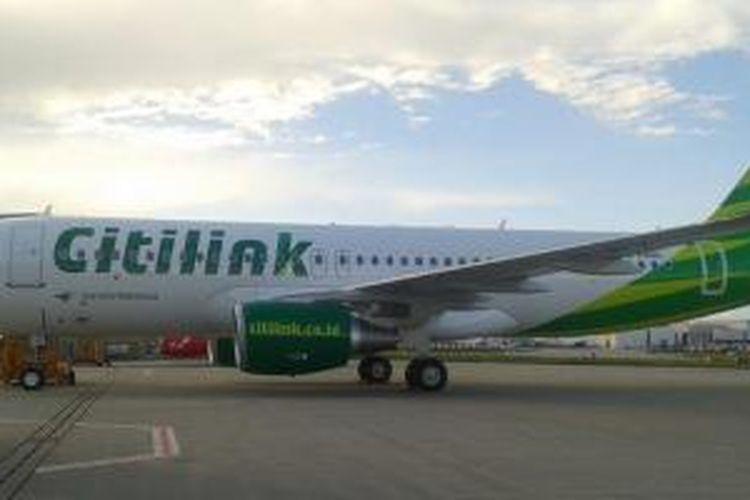 Pesawat Citilink terbaru Airbus A320 dilengkapi sharklets.