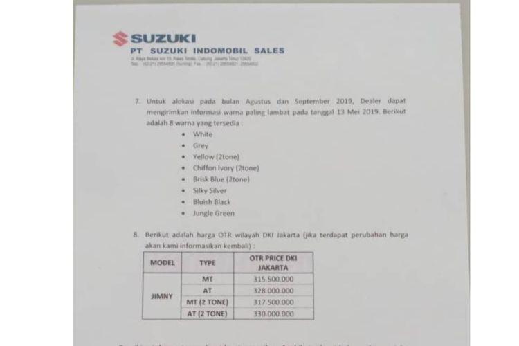 Tangkapan layar bocoran harga Suzuki Jimny terbaru