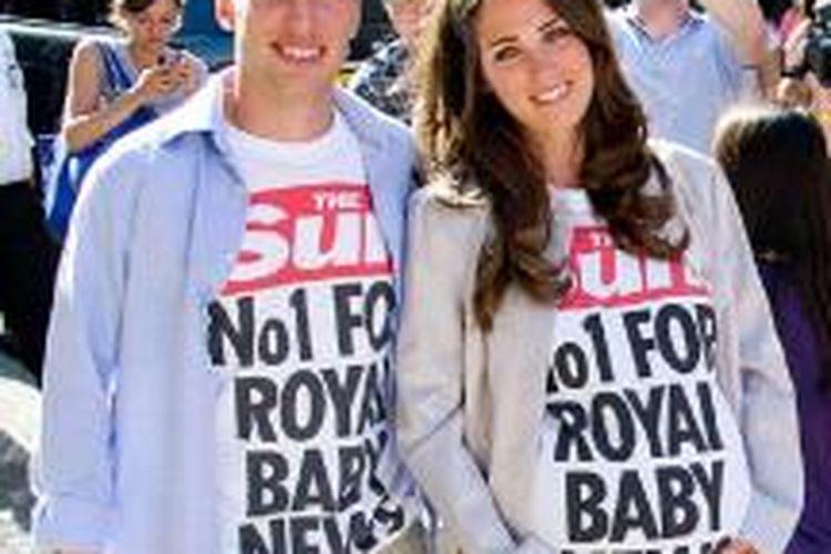 Tom Moore dan Nicola Maher yang bertampang mirip Pangeran William dan istrinya, Kate.