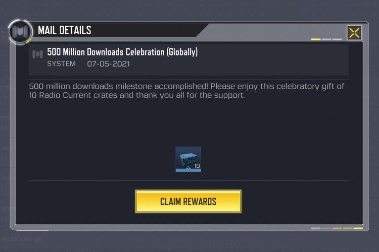 Hadiah yang bakal dikirimkan ke kotak masuk (inbox) masing-masing pemain Call of Duty Mobile. Hadiah ini berupa peti Radio Current Crate yang berjumlah 10 unit kotak.