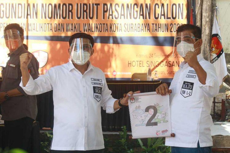 Calon wali kota dan wakil wali kota Surabaya, Machfud Arifin-Mujiaman mendapatkan nomor 2 dalam pengundian nomor urut Pilkada Surabaya, Kamis (24/9/2020).