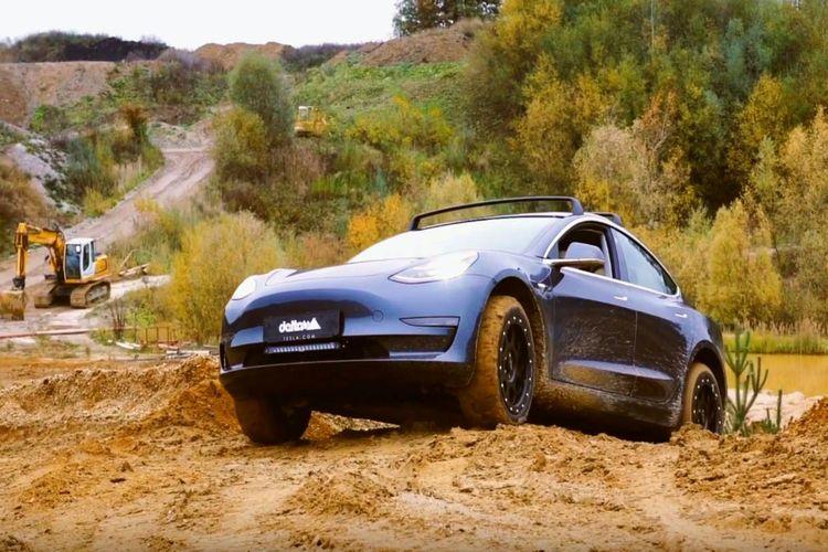 Modifikasi Tesla Model 3 off-road