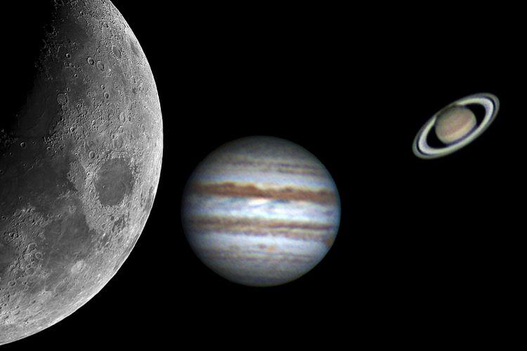 Ilustrasi fenomena langit triple konjungsi, teleskop menangkap penampakan bulan, jupiter, dan saturnus.