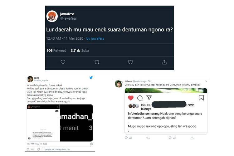 Ramai di Twitter soal pengakuan warganet mengaku mendengar suara dentuman. BMKG memastikan tidak terkait aktivitas gempa.