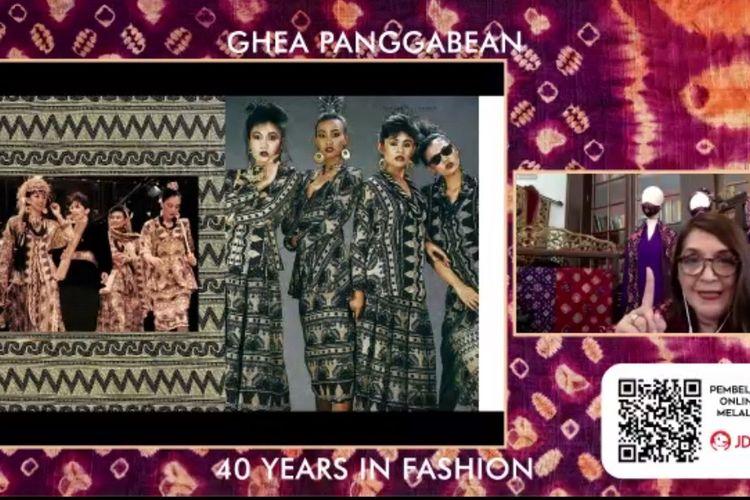 Perancang busana Ghea Panggabean ketika meluncurkan Asian Bohemian Chic: Indonesian Heritage Becomes Fashion, buku cerita perjalanan 40 tahun berkaryanya.