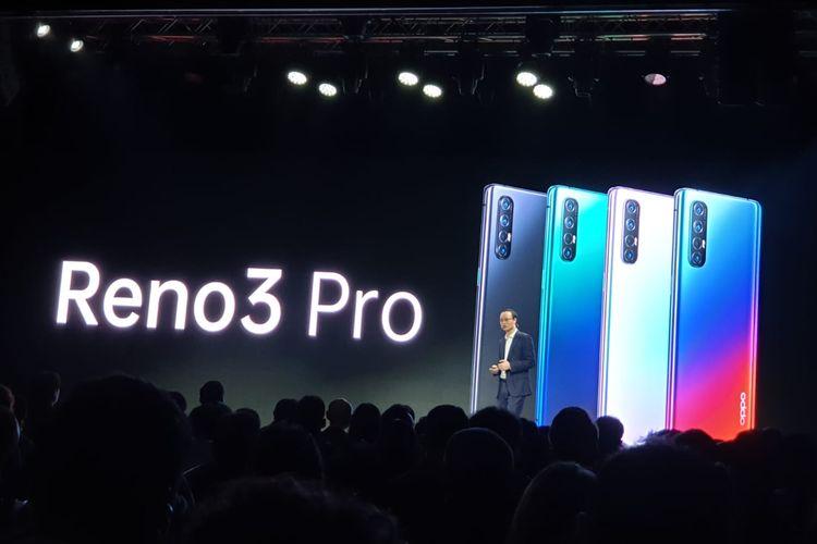 Wujud Oppo Reno 3 Pro yang dipresentasikan di acara Oppo Inno Day 2019 di Shenzen, China.