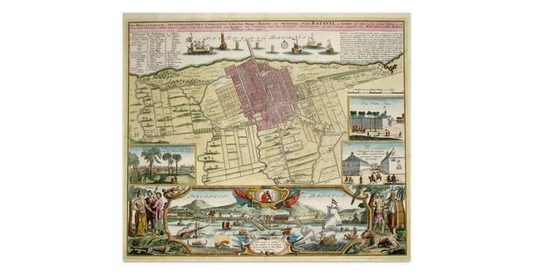 Peta Kota Batavia yang diterbitkan oleh Homannischen Erben pada 1733 ini menampilkan Kota Batavia dengan tembok kota dan pertahanan bentengnya, juga ilustrasi tentang warganya.
