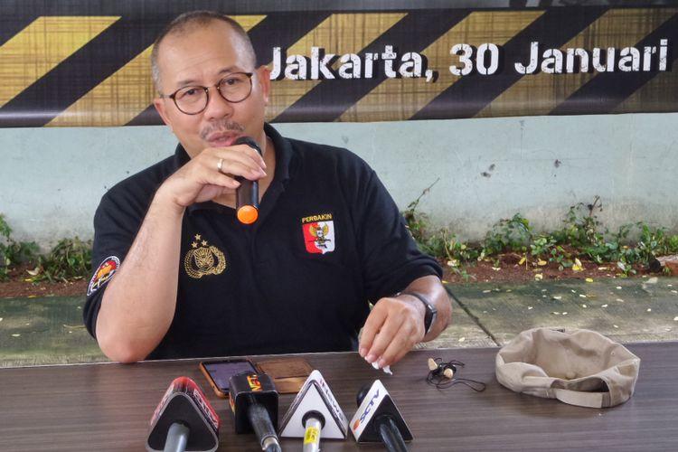 Kepala Divisi Humas Polri Irjen Setyo Wasisto di Lapangan Tembak Senayan, Jakarta, Selasa (30/1/2018).