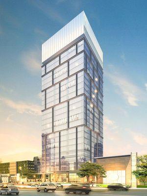 Desain gedung Pelindo Place yang berlokasi di Jalan Perak Timur, Surabaya. Gedung itu dibangun oleh PT Pelabuhan Indonesia III (Persero).