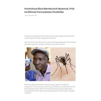 Tangkapan layar yang memuat artikel kentut pria Uganda disebut ampuh membunuh nyamuk. Informasi ini hoaks.