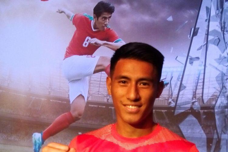 Pemain timnas sepak bola Indonesia Hanif Sjahbandi.