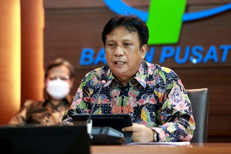 Kepala Badan Pusat Statistik (BPS) Margo Yuwono saat melaporkan kinerja ekspor-impor bulan Juni tahun 2021 di Gedung BPS Jakarta, Kamis (15/7/2021).