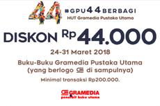 Ulang Tahun Ke-44, Gramedia Canangkan Gerakan 4B dan Diskon Rp 44.000