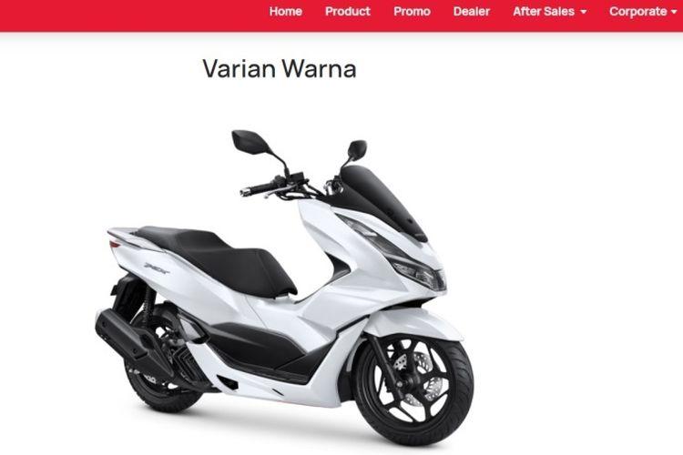 Tampilan gambar dari website resmi Honda yang telah memajang gambar PCX 160.