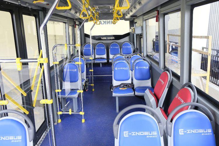 Interior bus listrik buatan PT INKA