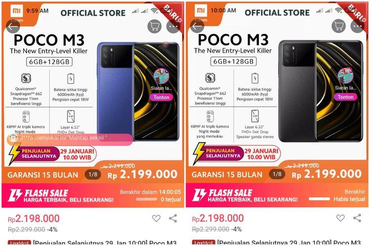 Ilustrasi laman penjualan flash sale kedua Poco M3 pukul 09.59 WIB (kiri) dan pukul 10.00 WIB (kanan)