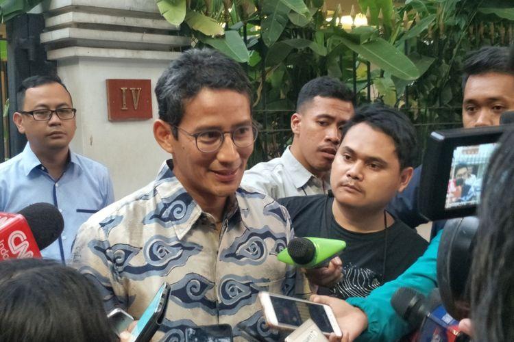 Mantan Wakil Gubernur DKI Jakarta Sandiaga Uno saat ditemui di kediaman Prabowo Subianto, Jalan Kertanegara, Jakarta Selatan, Kamis (15/8/2019).
