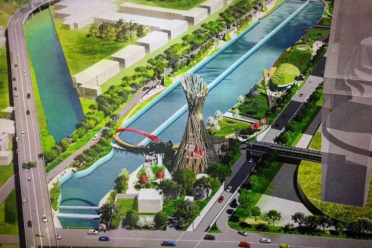 Desain akhir penataan sungai Kalimalang, Kota Bekasi yang diunggah Gubernur Jawa Barat Ridwan Kamil dalam akun Instagramnya @ridwankamil, Senin (3/12/2018).