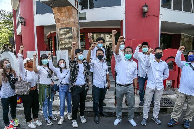 Kelompok influencer muda deklarasi Surabaya Berenerji di Surabaya, Rabu (28/10/2020).