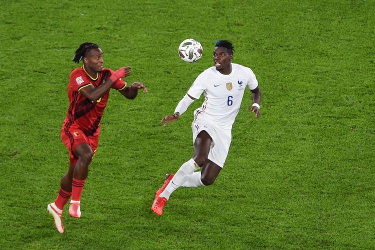 Gelandang Perancis Paul Pogba beraksi pada laga semifinal UEFA Nations League kontra Belgia di Juventus Stadium, Turin, 7 Oktober 2021.
