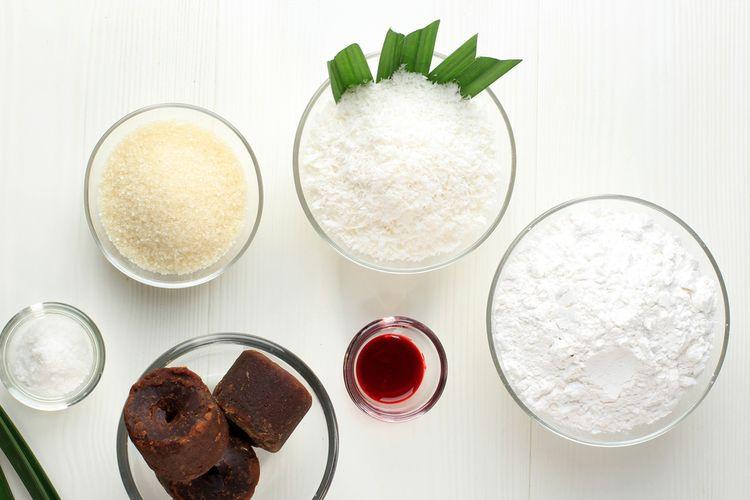 ilustrasi bahan-bahan utuk membuat jajan pasar manis.