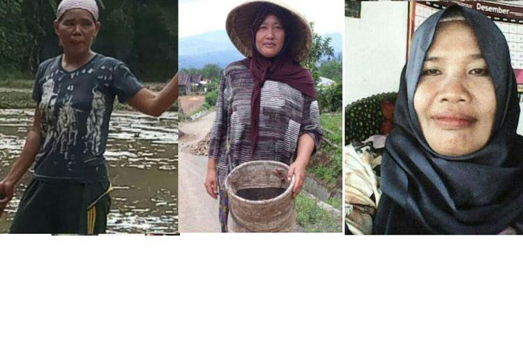 Keterangan foto: dari kiri ke kanan, Piah, Weni, dan Maryam.