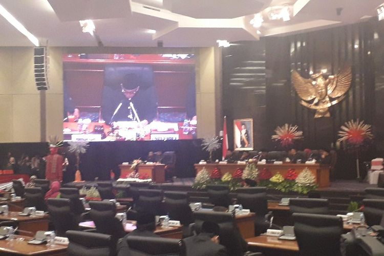 Suasana sidang paripurna HUT ke-492 Jakarta di Gedung DPRD DKI Jakarta, Sabtu (22/6/2019).