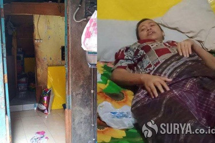 Anik Ismawati (37) didiagnosa mengidap kanker payudara stadium empat dan tinggal di rumah kontrakan kecil berukuran 3 x 5 meter persegi. (SURYA.co.id/Yusron Naufal Putra)