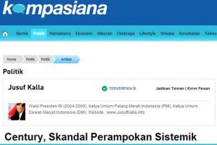 Laman Jusuf Kalla di Kompasiana. Kalla terdaftar sebagai akun terverifikasi di Kompasiana.