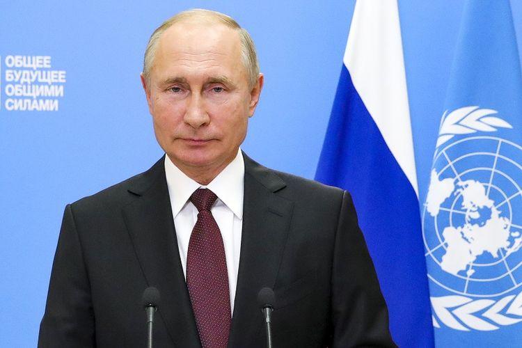 Presiden Rusia menyampaikan pidato pada sesi ke-75 Sidang Umum Perserikatan Bangsa-Bangsa di Moskwa, Rusia, Selasa, 22 September 2020.