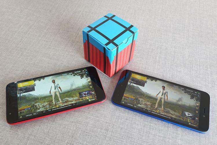 Ilustrasi PUBG Mobile Lite di Galaxy A2 Core (kiri) dan Redmi Go (kanan).
