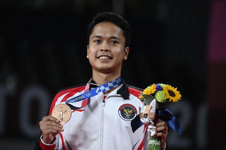 Anthony Ginting dan medali perunggu Olimpiade Tokyo 2020, Senin (3/8/2021).
