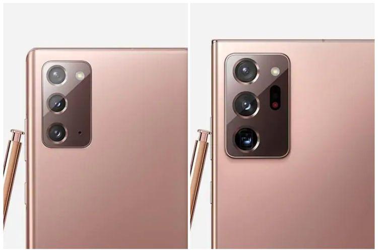 Susunan kamera belakang Galaxy Note 20 (kiri) dan Galaxy Note 20 Ultra (kanan).