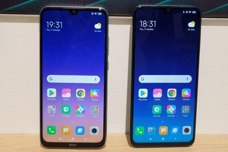 (ki-ka) Tampak depan Redmi Note 8 dan Redmi Note 8 Pro. Ukuran layar Redmi Note 8 Pro berbentang 6,53 inci lebih besar dibanding Redmi Note 8 yang berbentang 6,3 inci.