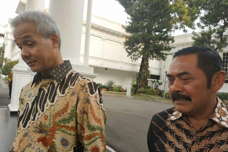 Gubernur Jawa Tengah Ganjar Pranowo dan Walikota Solo FX Hadi Rudyatmo bertemu Presiden Joko Widodo di Kompleks Istana Kepresidenan, Jakarta, Senin (17/12/2018) sore.