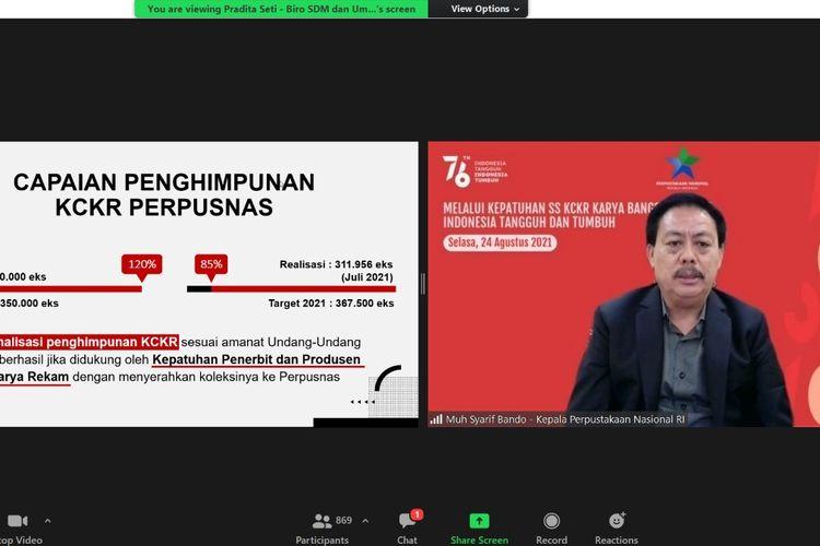 Kepala Perpusnas Syarif Bando dalam webinar bertema Melalui Kepatuhan SS KCKR Karya Bangsa Lestari Indonesia Tangguh dan Tumbuh yang diselenggarakan secara virtual pada Selasa (24/8/2021).
