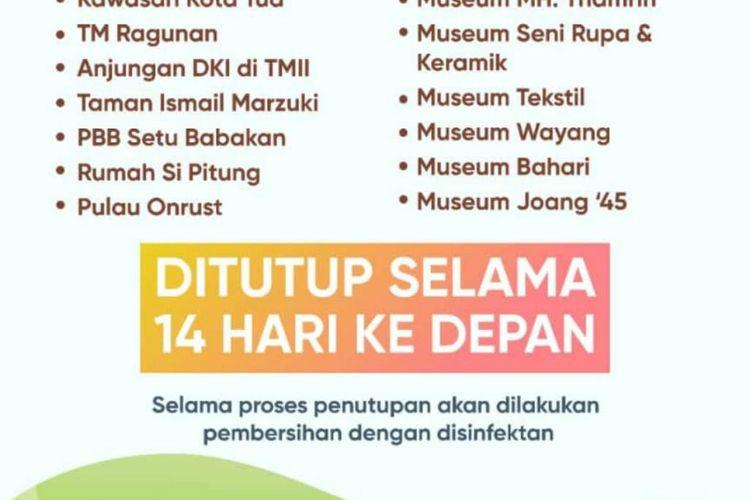 Daftar tempat wisata di Jakarta yang ditutup selama dua pekan ke depan untuk cegah penyebaran virus corona
