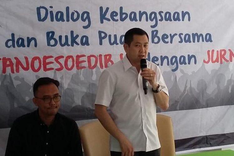 Ketua Umum Perindo Hary Tanoesoedibjo, saat menjadi narasumber dalam dialog kebangsaan di Kawasan Cikini, Jakarta Pusat, Rabu (15/7/2015).
