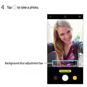 Ilustrasi cara kerja kamera ganda pada Galaxy A8 dan Galaxy A8 Plus (2018) dalam manual yang diunggah Samsung ke situsnya.