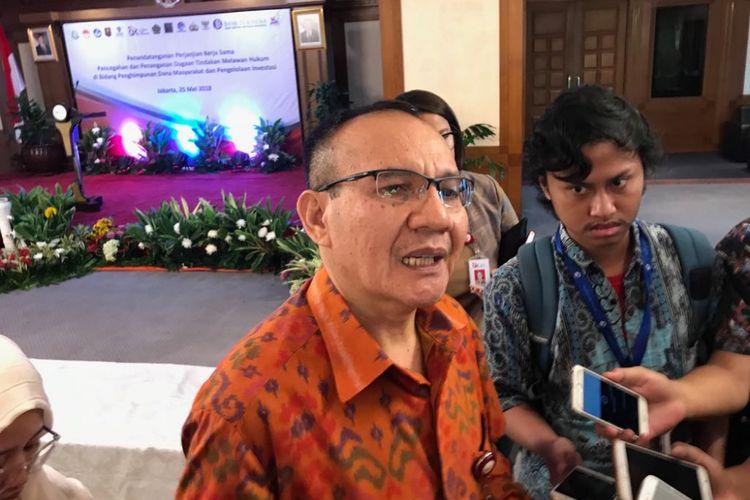 Ketua Satgas Waspada Investasi Tongam L Tobing saat di Jakarta, Jumat (25/5/2018).