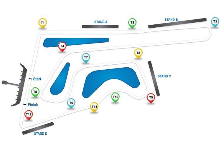 Denah Buriram United International Circuit (BRIC) atau Chang International Circuit yang bakal menggelar MotoGP pada 2018.