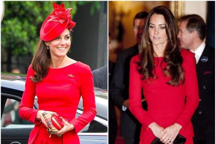 Kate Middleton menggunakan gaun yang sama dalam acara yang berbeda.