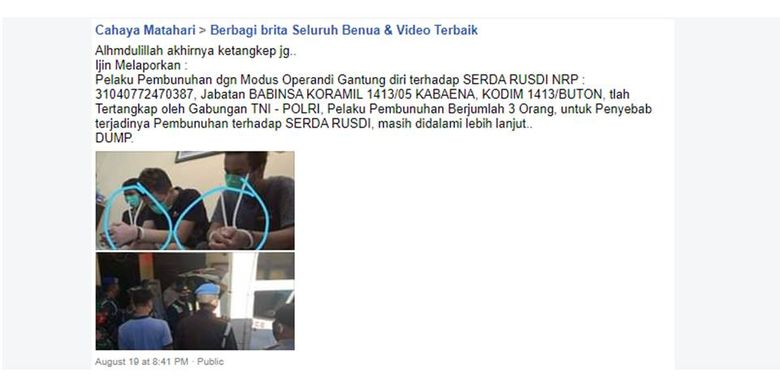 Foto yang diklaim sebagai pelaku pembunuhan anggota TNI di Bombana. Setelah ditelusuri, foto ini merupakan foto tersangka dalam kasus narkotika di Lombok Timur.