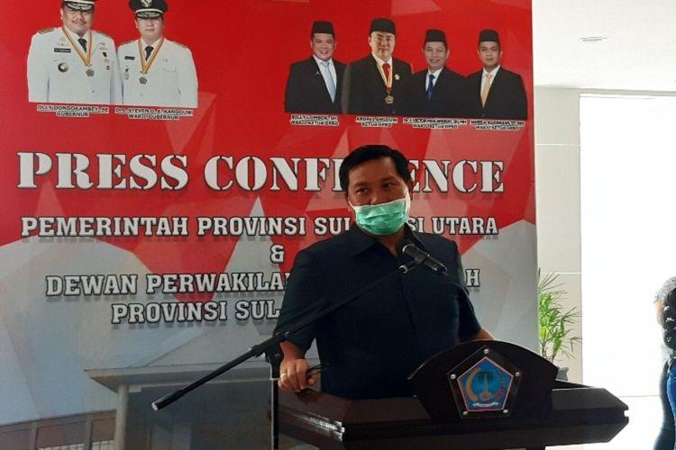 Wakil Gubernur Sulut Steven Kandou saat diwawancara usai rapat paripurna penyampaian LKPJ Gubernur Sulut tahun anggaran 2019, Rabu (15/4/2020) pukul 12.20 WITA