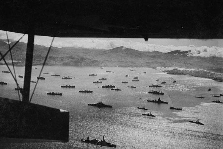 Angkatan Laut Sekutu (AS dan Kanada) saat menyerbu Pulau Kiska pada Agustus 1943.