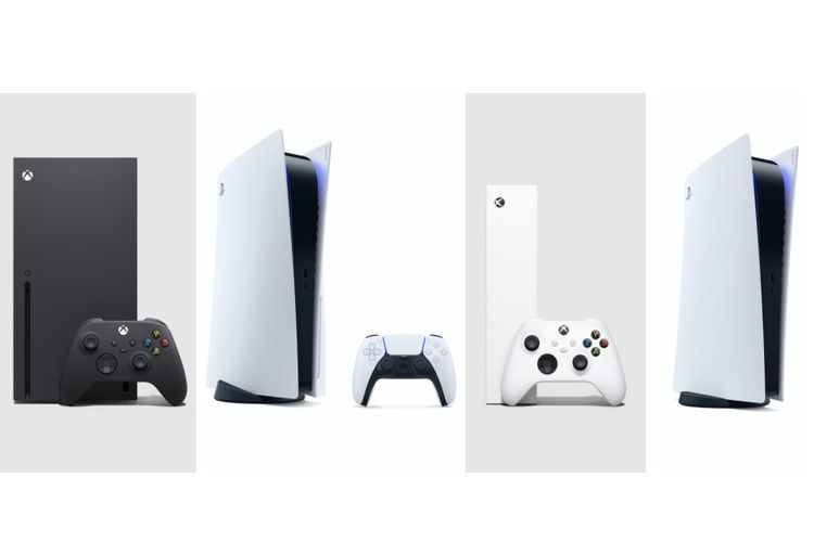 Ilustrasi Xbox Series X, PS5, Xbox Series S, dan PS5 Digital Edition (dari kiri ke kanan).