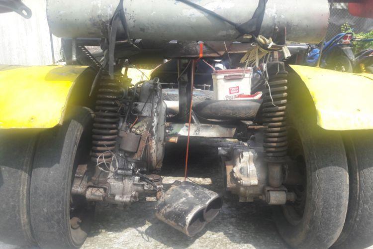 Motor Vespa yang dimodifikasi habis tampilannya hingga seperti mobil F1